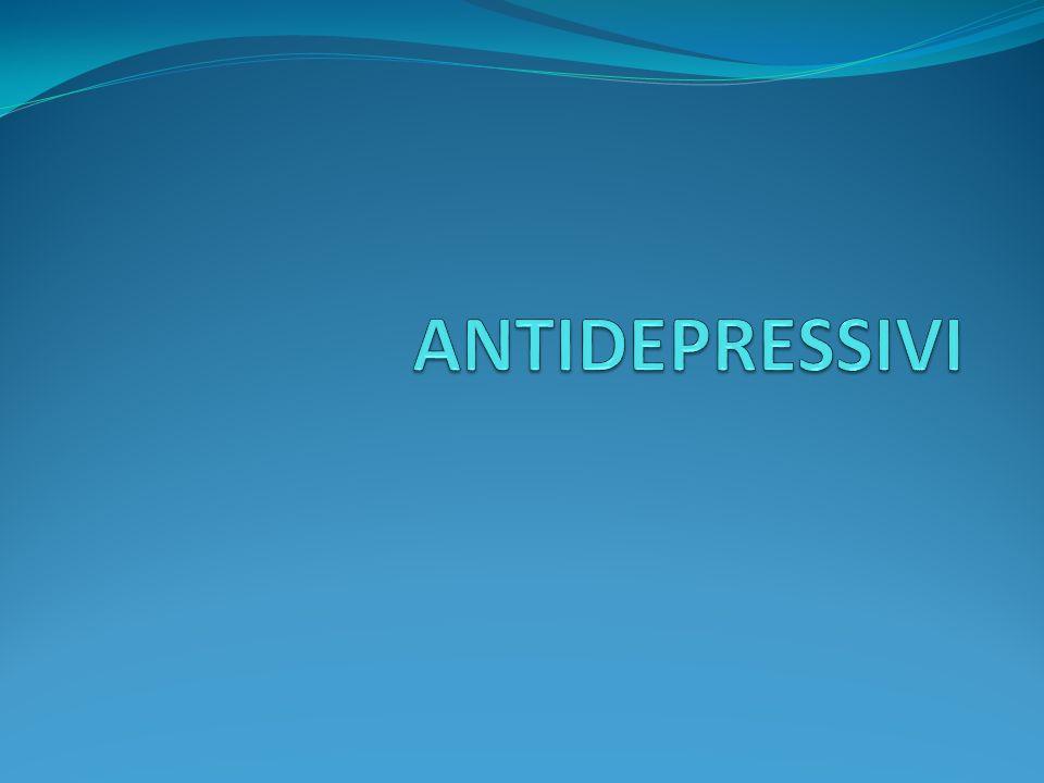 ANTIDEPRESSIVI ASPETTI GENERALI Gli antidepressivi sono efficaci nel trattamento della depressione maggiore di grado moderato o grave, inclusa quella associata a malattie fisiche; sono efficaci anche nella distimia (depressione cronica di minore gravità).