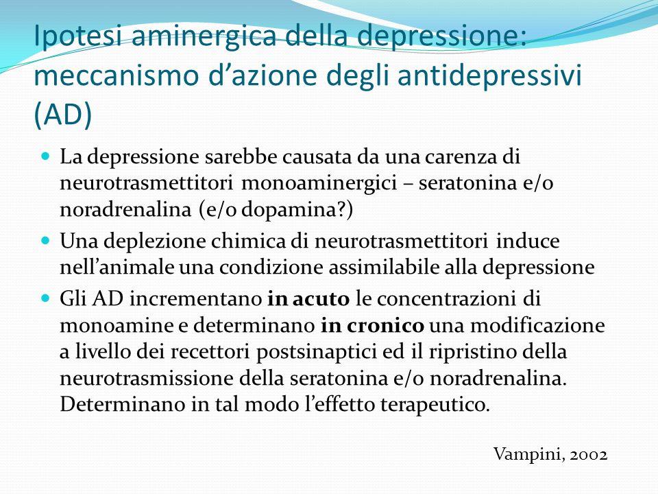 Ipotesi aminergica della depressione: meccanismo dazione degli antidepressivi (AD) La depressione sarebbe causata da una carenza di neurotrasmettitori