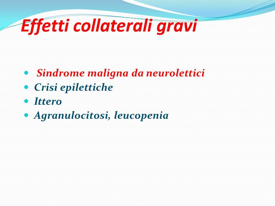 Effetti collaterali gravi Sindrome maligna da neurolettici Crisi epilettiche Ittero Agranulocitosi, leucopenia