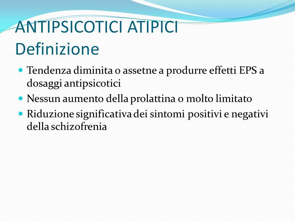 ANTIPSICOTICI ATIPICI Definizione Tendenza diminita o assetne a produrre effetti EPS a dosaggi antipsicotici Nessun aumento della prolattina o molto l