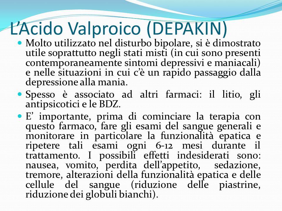 LAcido Valproico (DEPAKIN) Molto utilizzato nel disturbo bipolare, si è dimostrato utile soprattutto negli stati misti (in cui sono presenti contempor