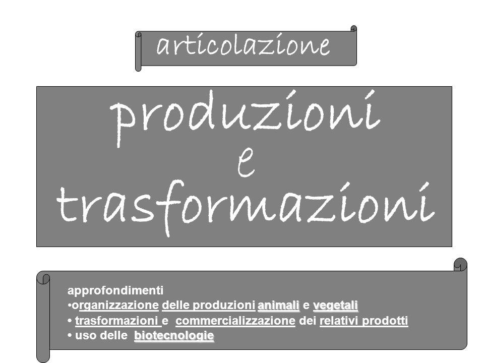 produzioni e trasformazioni articolazione approfondimenti animalivegetaliorganizzazione delle produzioni animali e vegetali trasformazioni e commercializzazione dei relativi prodotti biotecnologie uso delle biotecnologie