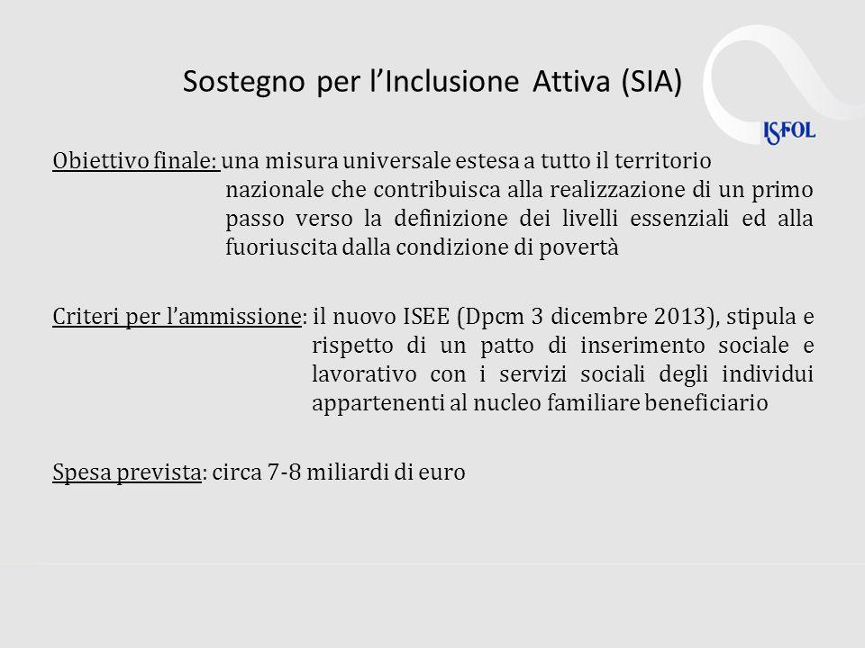Sostegno per lInclusione Attiva (SIA) Obiettivo finale: una misura universale estesa a tutto il territorio nazionale che contribuisca alla realizzazione di un primo passo verso la definizione dei livelli essenziali ed alla fuoriuscita dalla condizione di povertà Criteri per lammissione: il nuovo ISEE (Dpcm 3 dicembre 2013), stipula e rispetto di un patto di inserimento sociale e lavorativo con i servizi sociali degli individui appartenenti al nucleo familiare beneficiario Spesa prevista: circa 7-8 miliardi di euro