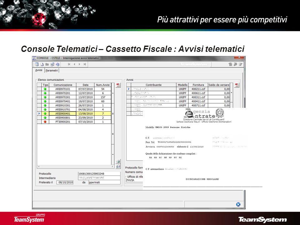 Console Telematici – Cassetto Fiscale : Avvisi telematici