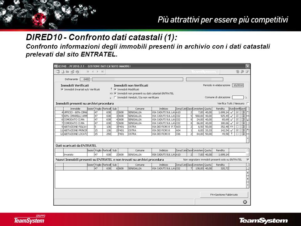 DIRED10 - Confronto dati catastali (1): Confronto informazioni degli immobili presenti in archivio con i dati catastali prelevati dal sito ENTRATEL.