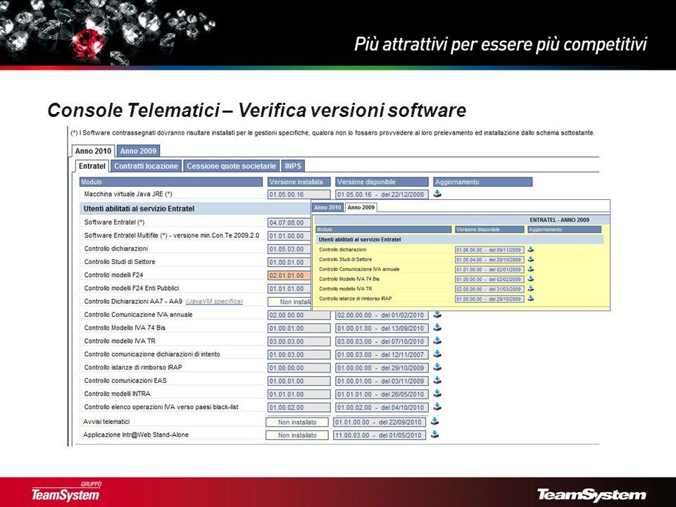 Console Telematici – Verifica versioni software