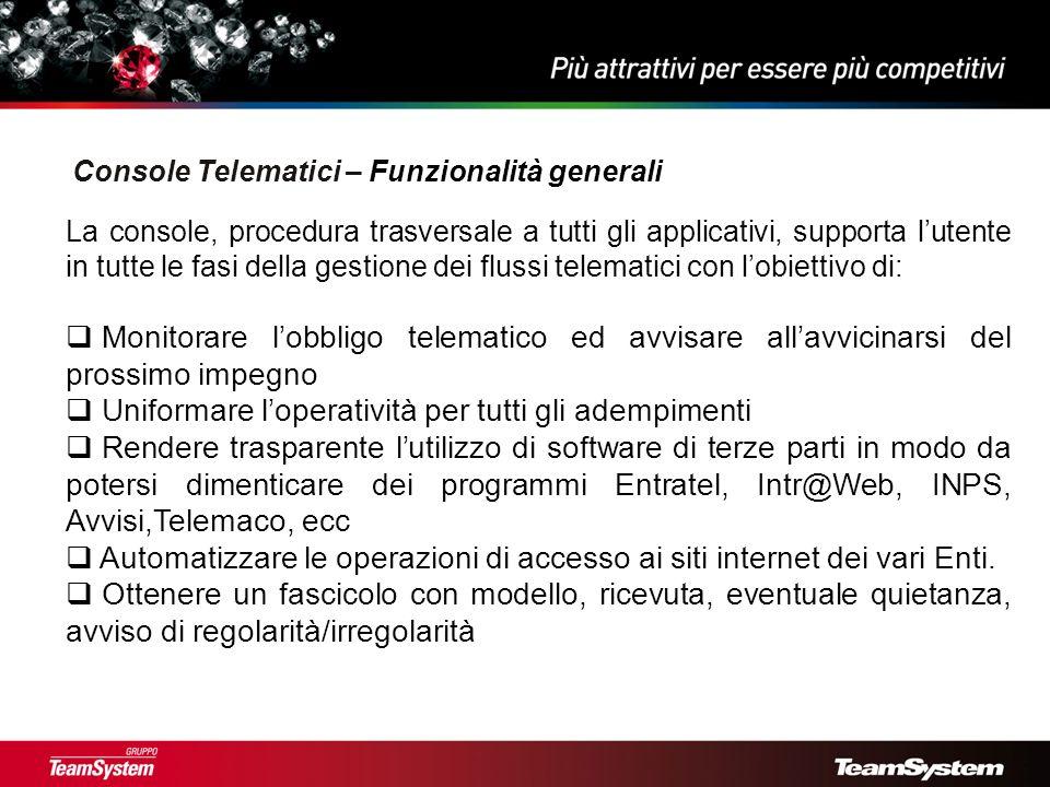 Console Telematici – Funzionalità generali
