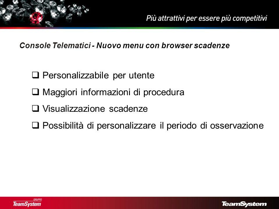 Personalizzabile per utente Maggiori informazioni di procedura Visualizzazione scadenze Possibilità di personalizzare il periodo di osservazione