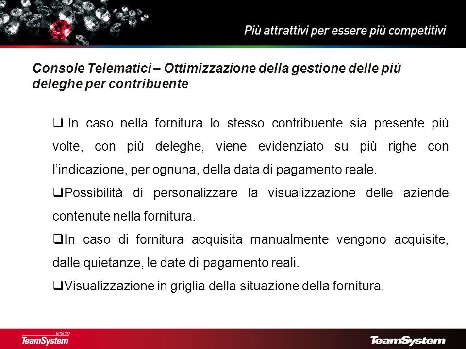 Console Telematici – nuove informazioni forniture