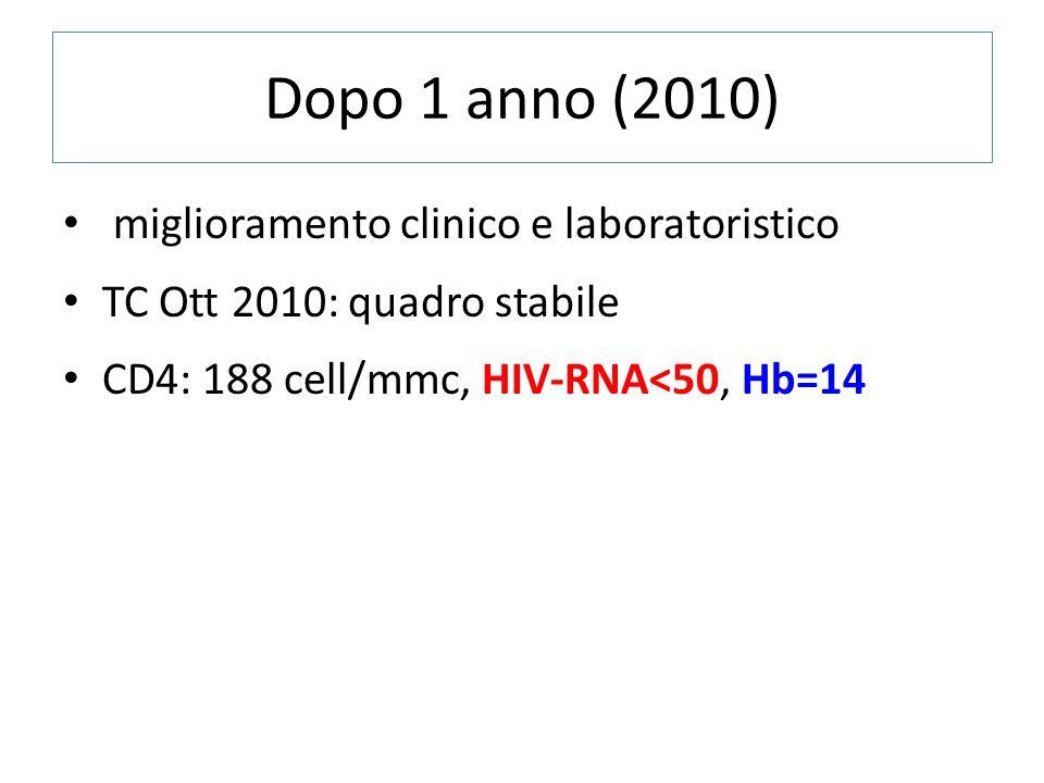 Dopo 1 anno (2010) miglioramento clinico e laboratoristico TC Ott 2010: quadro stabile CD4: 188 cell/mmc, HIV-RNA<50, Hb=14