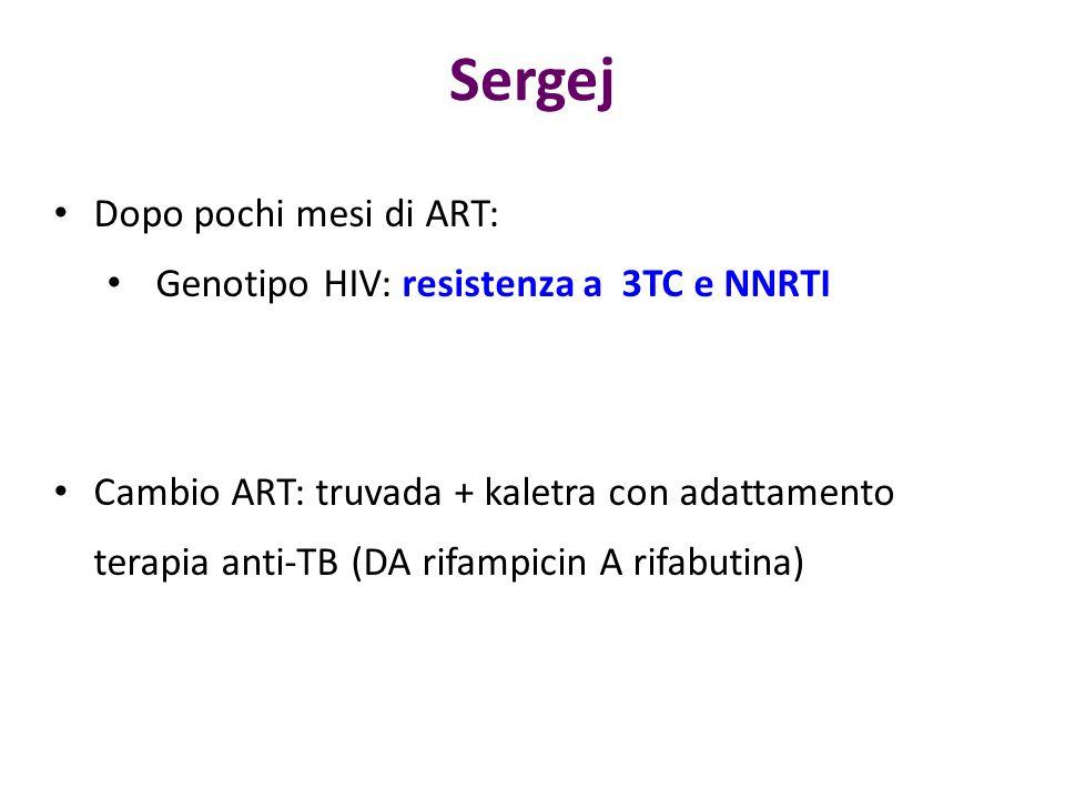 Dopo pochi mesi di ART: Genotipo HIV: resistenza a 3TC e NNRTI Cambio ART: truvada + kaletra con adattamento terapia anti-TB (DA rifampicin A rifabuti