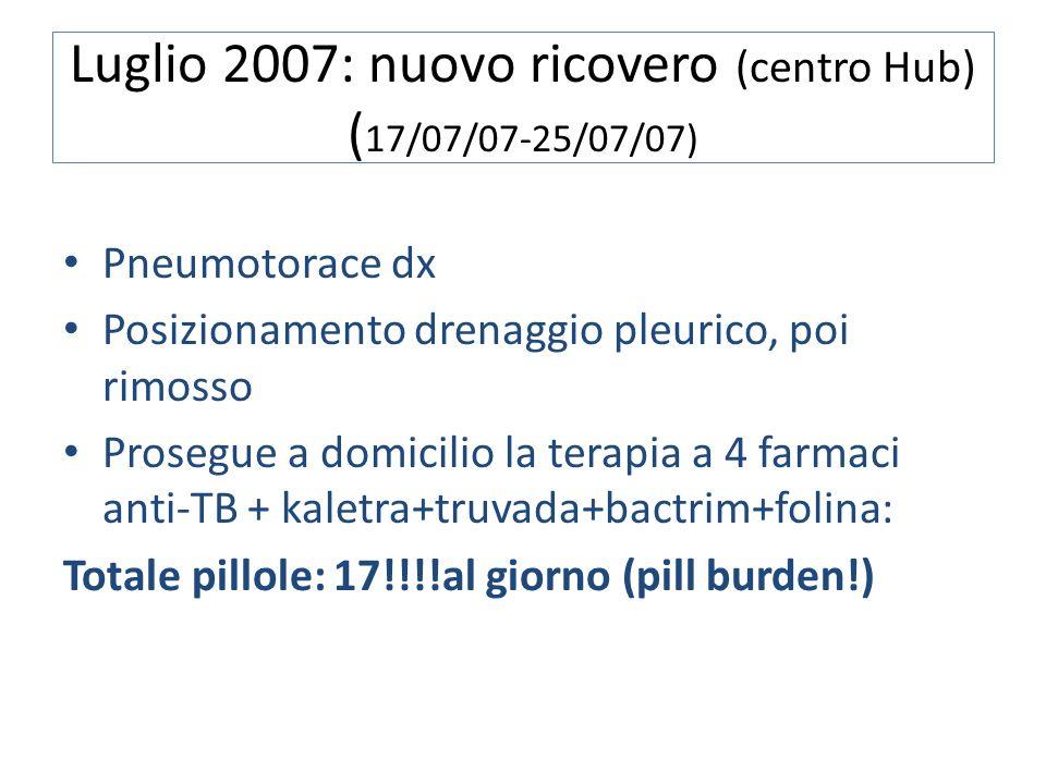 Luglio 2007: nuovo ricovero (centro Hub) ( 17/07/07-25/07/07) Pneumotorace dx Posizionamento drenaggio pleurico, poi rimosso Prosegue a domicilio la t