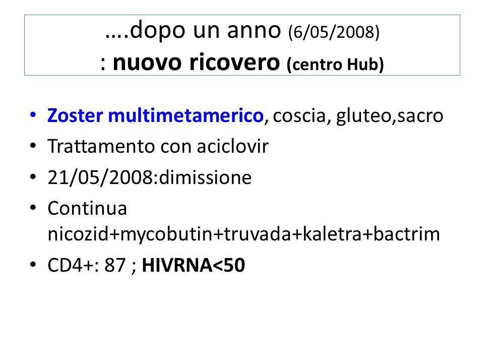 ….dopo un anno (6/05/2008) : nuovo ricovero (centro Hub) Zoster multimetamerico, coscia, gluteo,sacro Trattamento con aciclovir 21/05/2008:dimissione