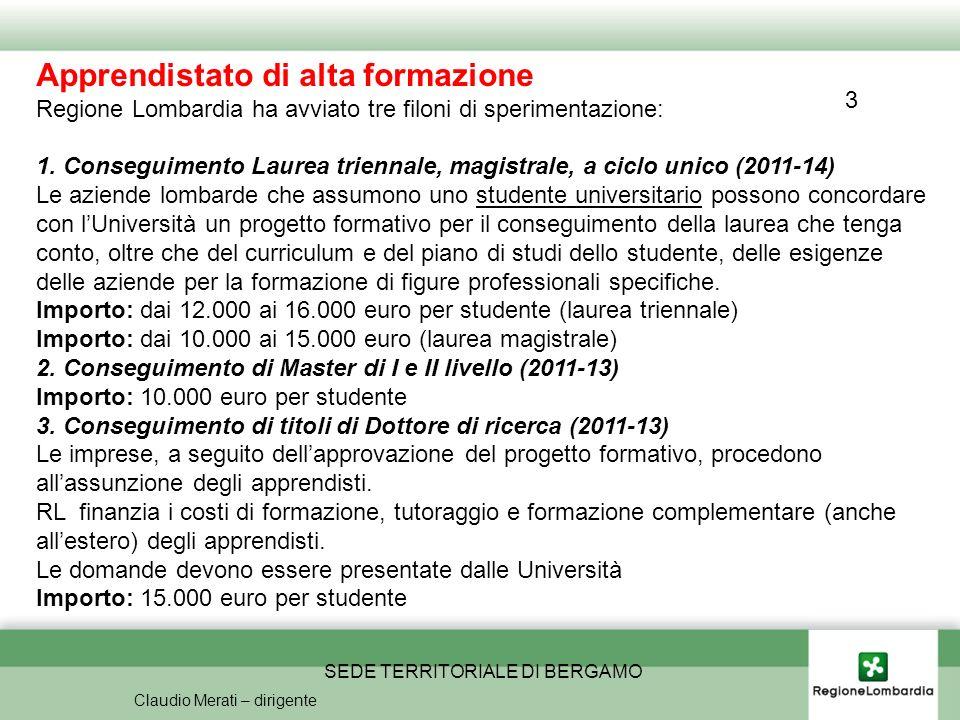 SEDE TERRITORIALE DI BERGAMO Claudio Merati – dirigente Apprendistato di alta formazione Regione Lombardia ha avviato tre filoni di sperimentazione: 1.