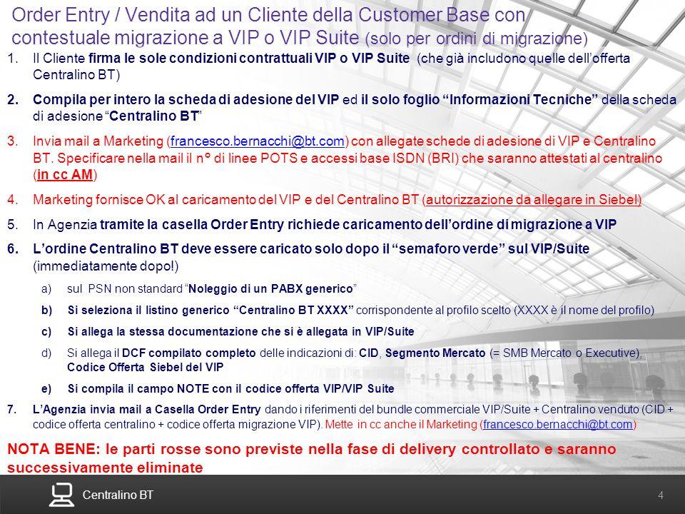 Centralino BT 4 Order Entry / Vendita ad un Cliente della Customer Base con contestuale migrazione a VIP o VIP Suite (solo per ordini di migrazione) 1
