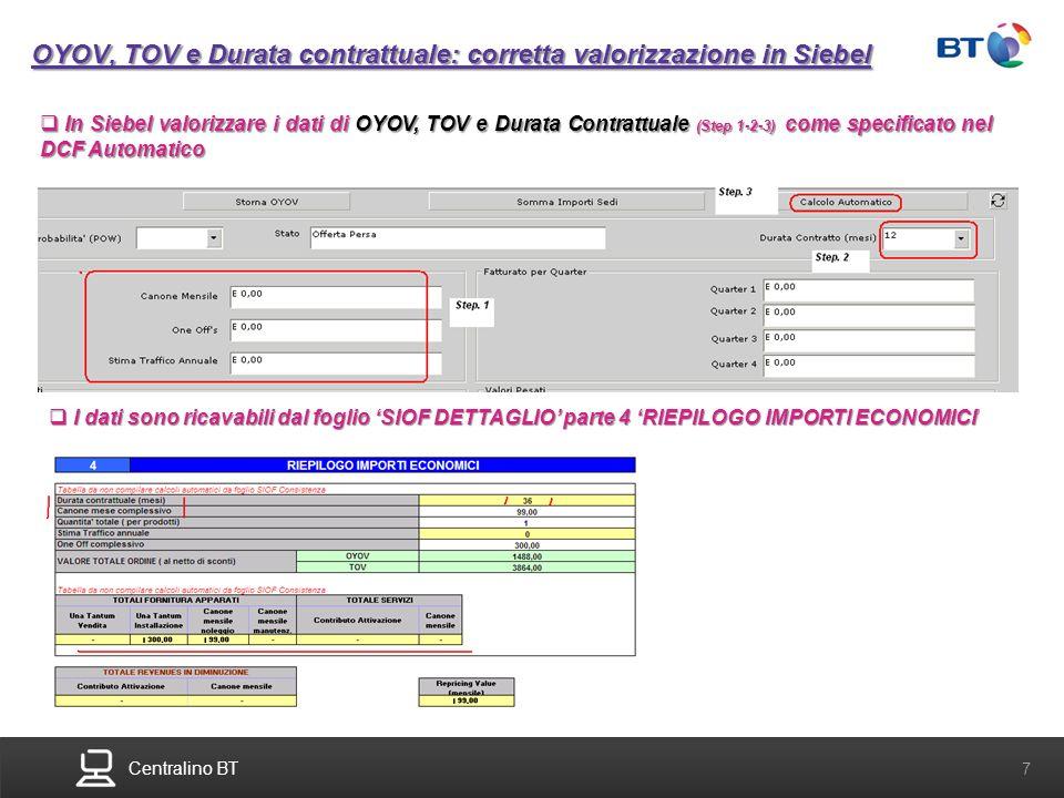Centralino BT 7 OYOV, TOV e Durata contrattuale: corretta valorizzazione in Siebel In Siebel valorizzare i dati di OYOV, TOV e Durata Contrattuale (St