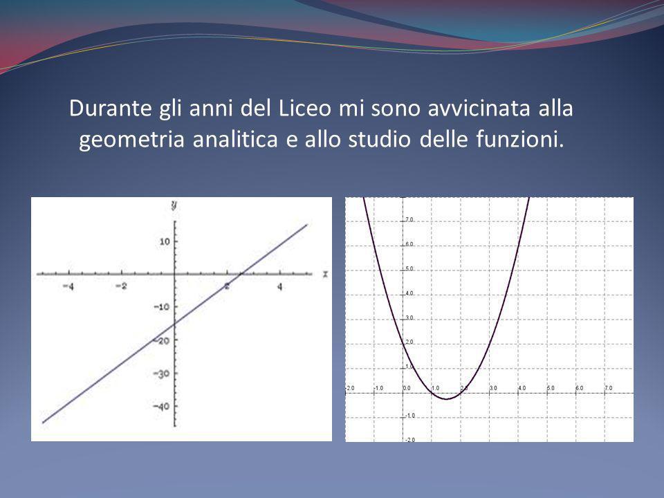Durante gli anni del Liceo mi sono avvicinata alla geometria analitica e allo studio delle funzioni.
