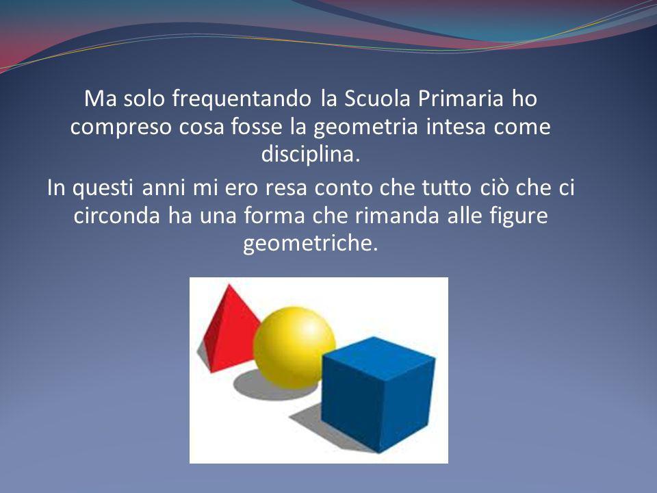 Ma solo frequentando la Scuola Primaria ho compreso cosa fosse la geometria intesa come disciplina. In questi anni mi ero resa conto che tutto ciò che