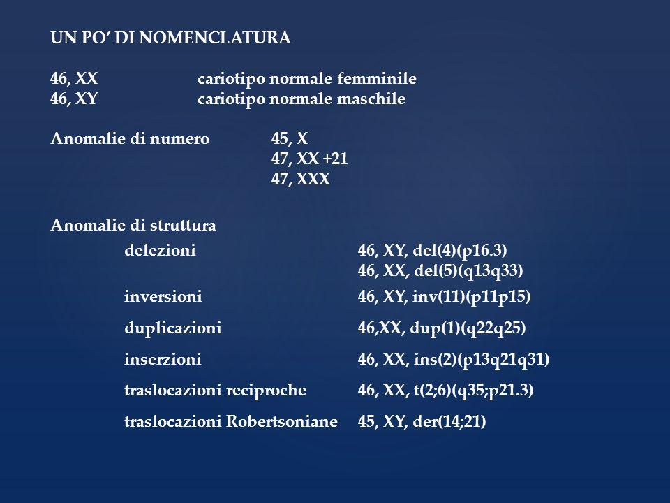 UN PO DI NOMENCLATURA 46, XXcariotipo normale femminile 46, XYcariotipo normale maschile Anomalie di numero45, X 47, XX +21 47, XXX Anomalie di strutt