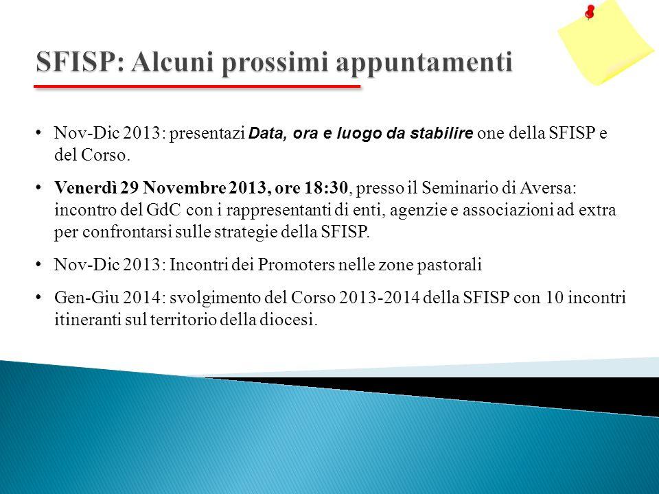 Nov-Dic 2013: presentazi Data, ora e luogo da stabilire one della SFISP e del Corso.