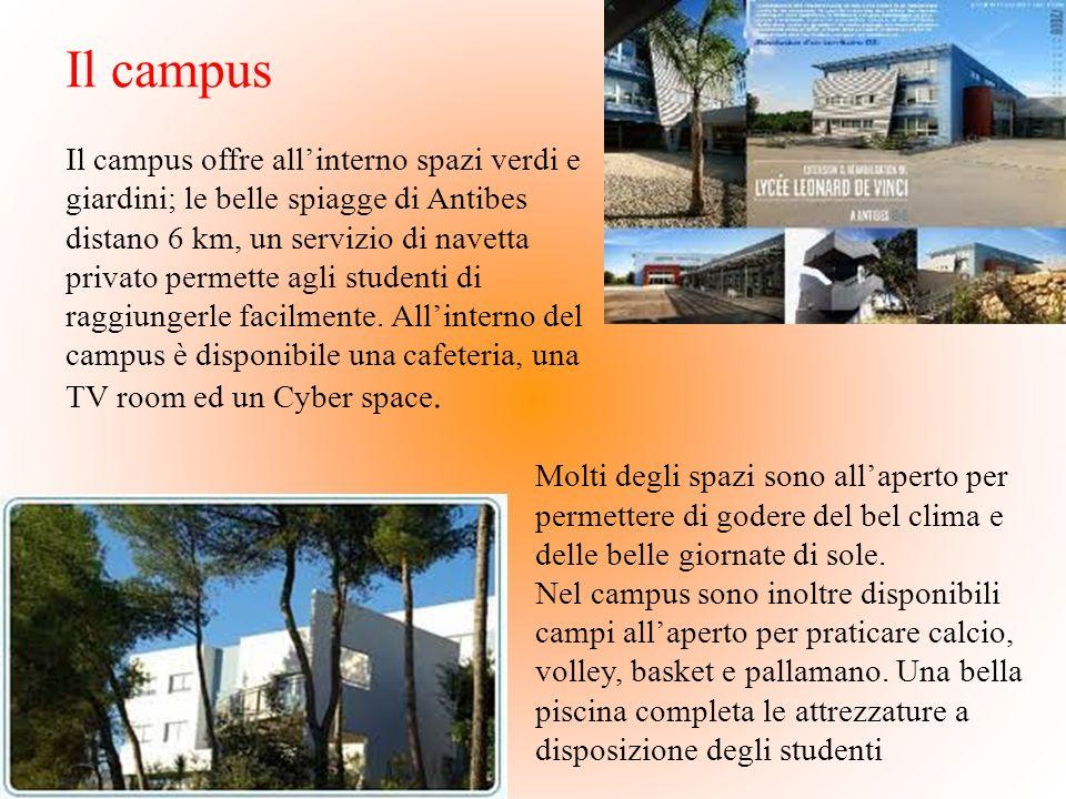 Il campus Il campus offre allinterno spazi verdi e giardini; le belle spiagge di Antibes distano 6 km, un servizio di navetta privato permette agli st