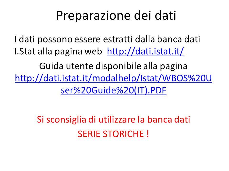 Preparazione dei dati I dati possono essere estratti dalla banca dati I.Stat alla pagina web http://dati.istat.it/http://dati.istat.it/ Guida utente d