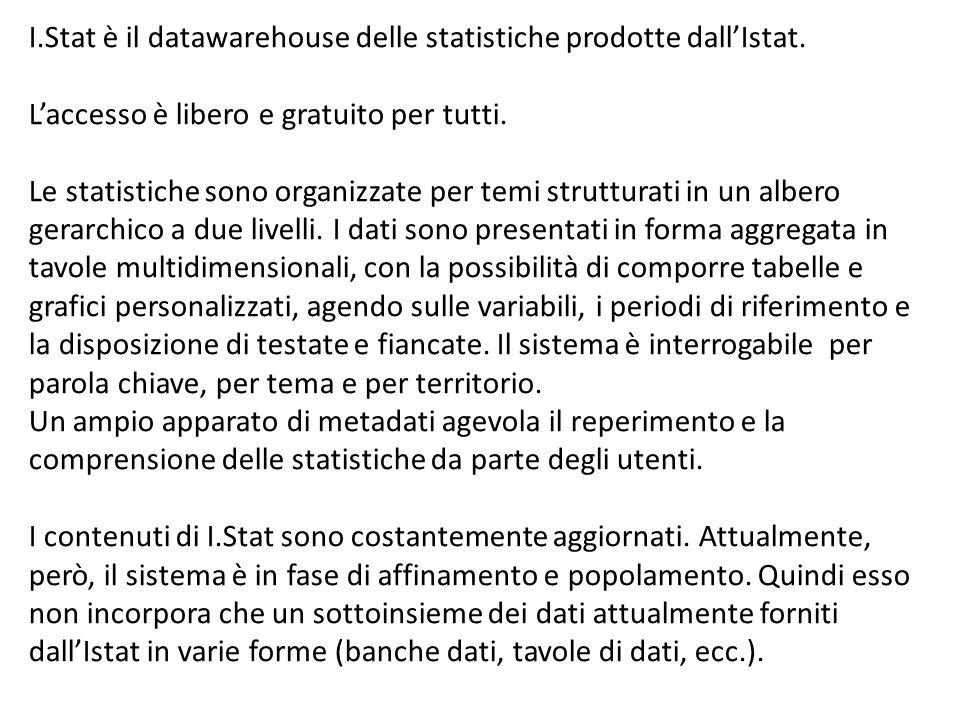 I.Stat è il datawarehouse delle statistiche prodotte dallIstat. Laccesso è libero e gratuito per tutti. Le statistiche sono organizzate per temi strut