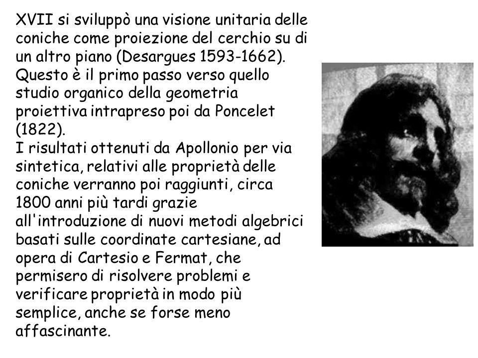 XVII si sviluppò una visione unitaria delle coniche come proiezione del cerchio su di un altro piano (Desargues 1593-1662). Questo è il primo passo ve