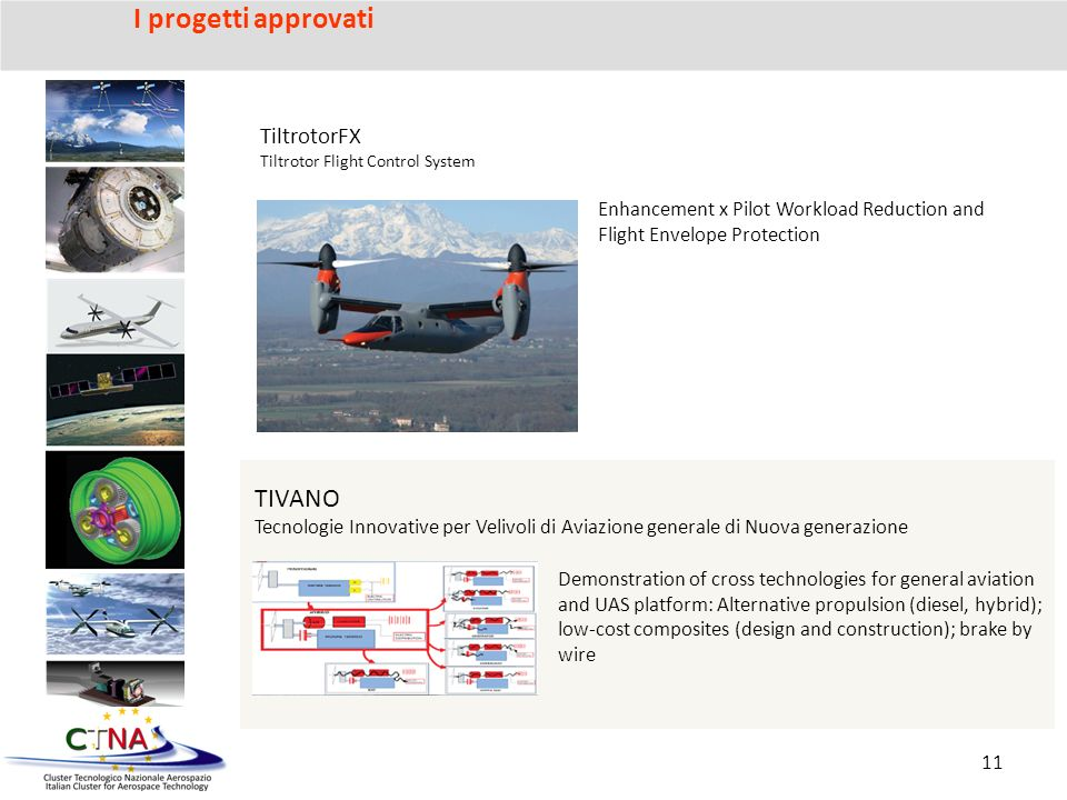TIVANO Tecnologie Innovative per Velivoli di Aviazione generale di Nuova generazione Demonstration of cross technologies for general aviation and UAS platform: Alternative propulsion (diesel, hybrid); low-cost composites (design and construction); brake by wire TiltrotorFX Tiltrotor Flight Control System Enhancement x Pilot Workload Reduction and Flight Envelope Protection 11 I progetti approvati