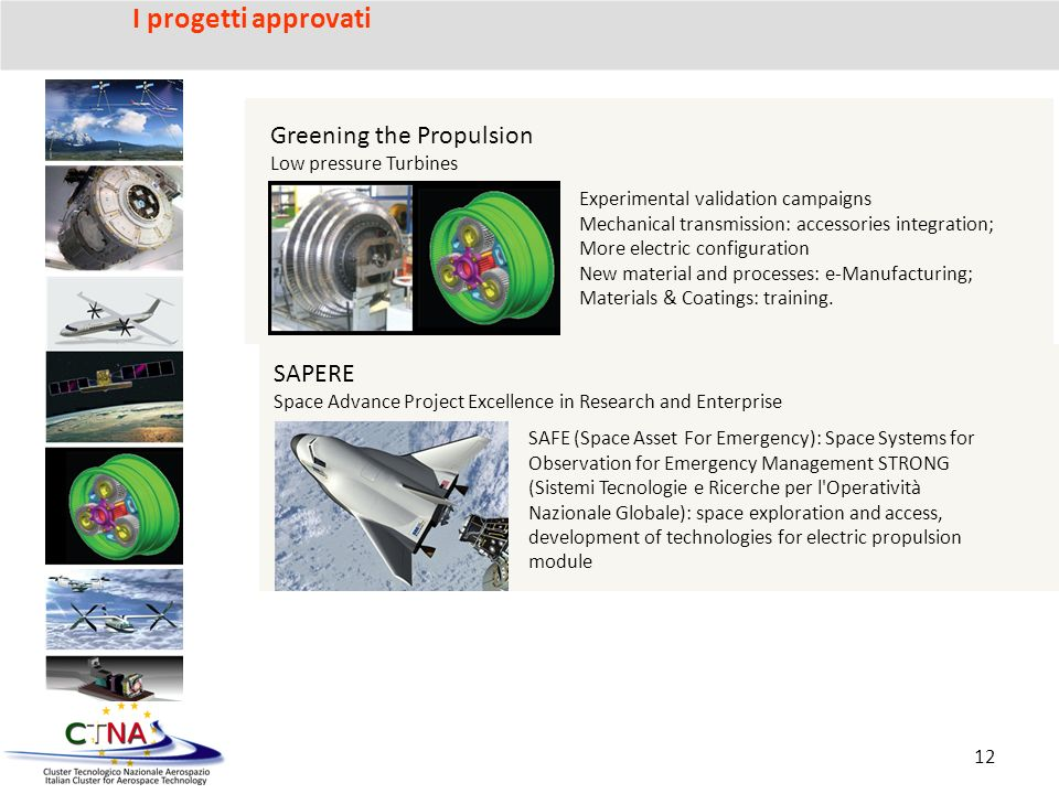 Greening the Propulsion Low pressure Turbines Experimental validation campaigns Mechanical transmission: accessories integration; More electric configuration New material and processes: e-Manufacturing; Materials & Coatings: training.
