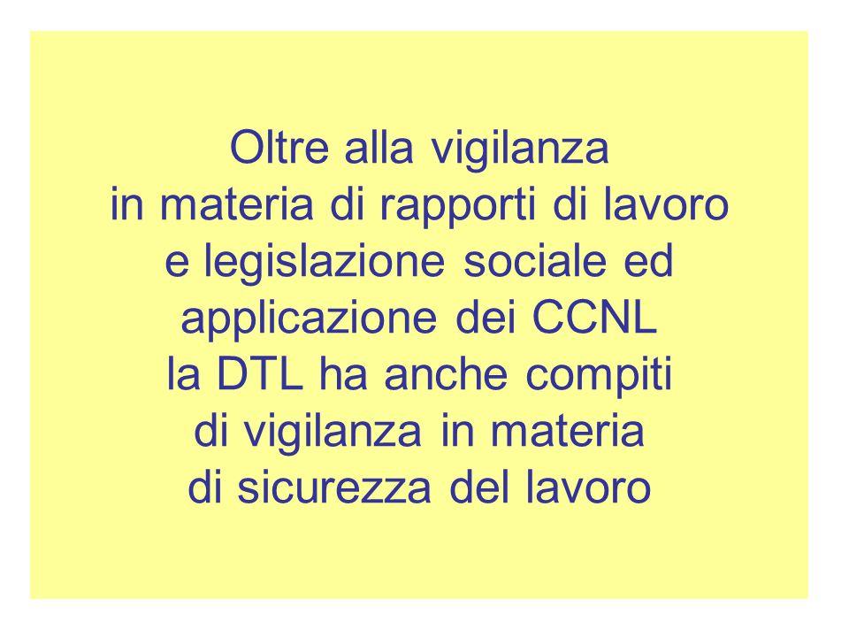 Oltre alla vigilanza in materia di rapporti di lavoro e legislazione sociale ed applicazione dei CCNL la DTL ha anche compiti di vigilanza in materia