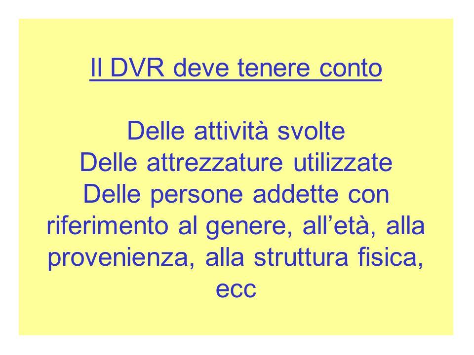 Il DVR deve tenere conto Delle attività svolte Delle attrezzature utilizzate Delle persone addette con riferimento al genere, alletà, alla provenienza