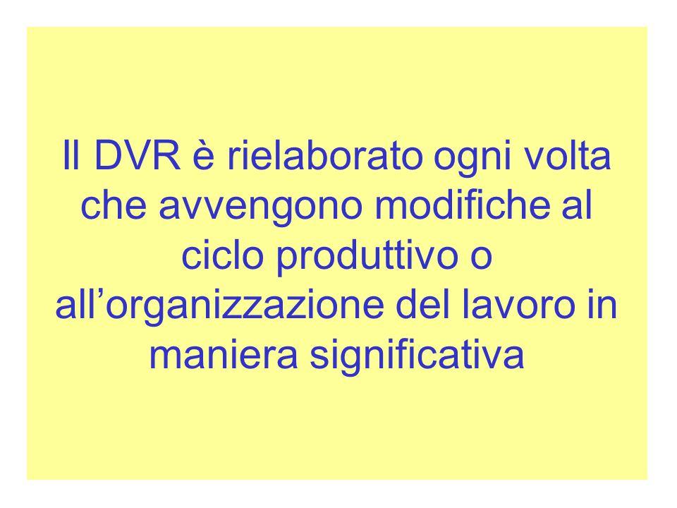 Il DVR è rielaborato ogni volta che avvengono modifiche al ciclo produttivo o allorganizzazione del lavoro in maniera significativa