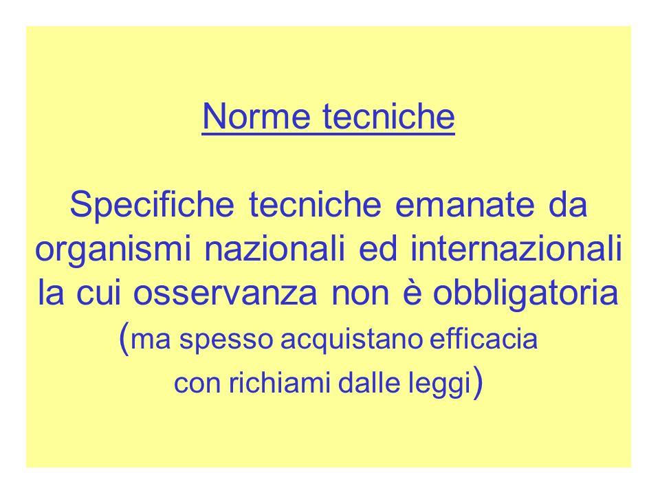 Norme tecniche Specifiche tecniche emanate da organismi nazionali ed internazionali la cui osservanza non è obbligatoria ( ma spesso acquistano effica
