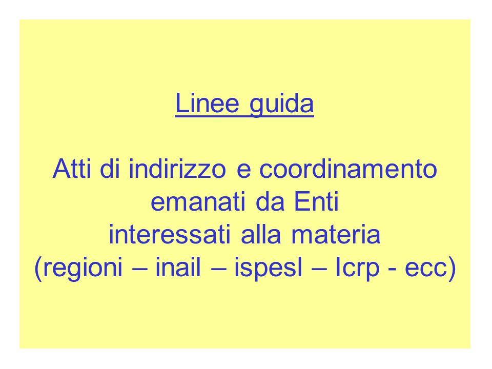 Linee guida Atti di indirizzo e coordinamento emanati da Enti interessati alla materia (regioni – inail – ispesl – Icrp - ecc)