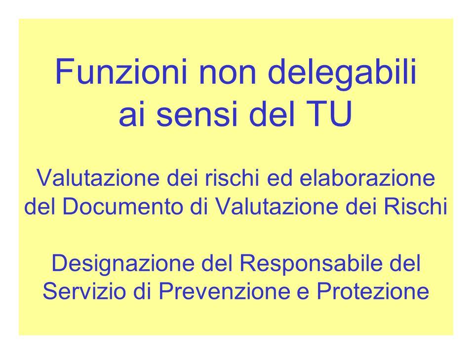 Funzioni non delegabili ai sensi del TU Valutazione dei rischi ed elaborazione del Documento di Valutazione dei Rischi Designazione del Responsabile d