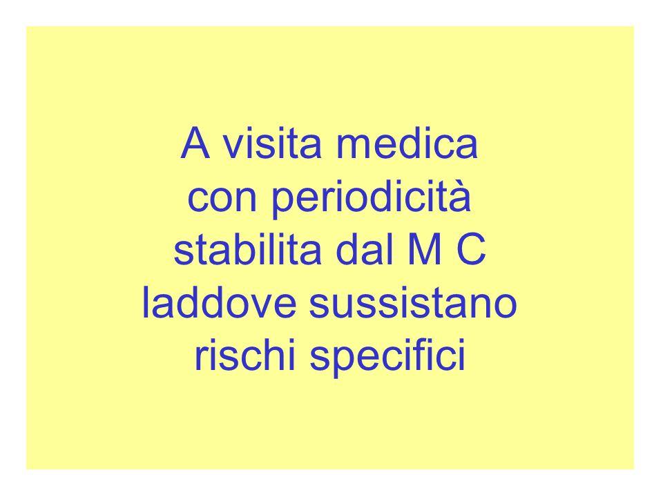A visita medica con periodicità stabilita dal M C laddove sussistano rischi specifici