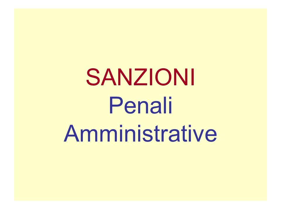 SANZIONI Penali Amministrative