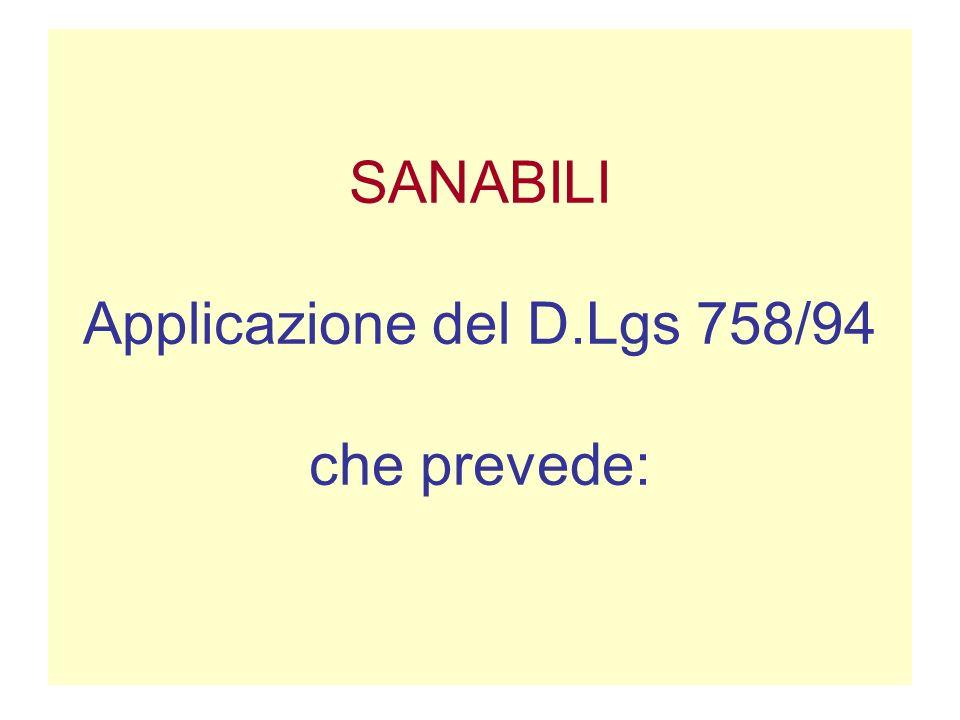 SANABILI Applicazione del D.Lgs 758/94 che prevede: