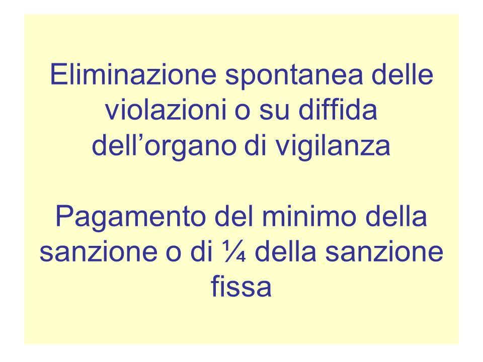 Eliminazione spontanea delle violazioni o su diffida dellorgano di vigilanza Pagamento del minimo della sanzione o di ¼ della sanzione fissa