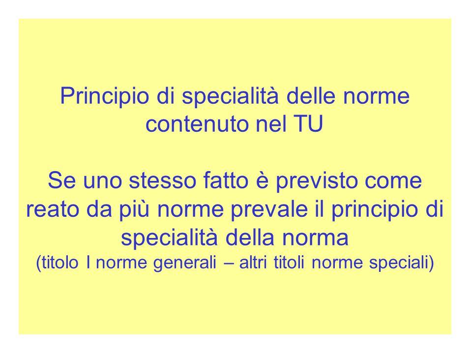 Principio di specialità delle norme contenuto nel TU Se uno stesso fatto è previsto come reato da più norme prevale il principio di specialità della n