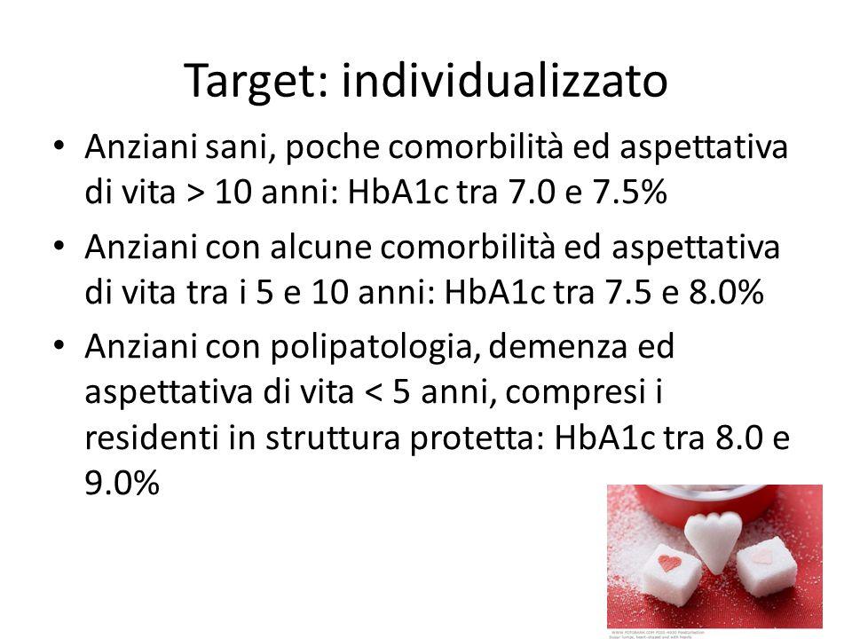 Target: individualizzato Anziani sani, poche comorbilità ed aspettativa di vita > 10 anni: HbA1c tra 7.0 e 7.5% Anziani con alcune comorbilità ed aspe