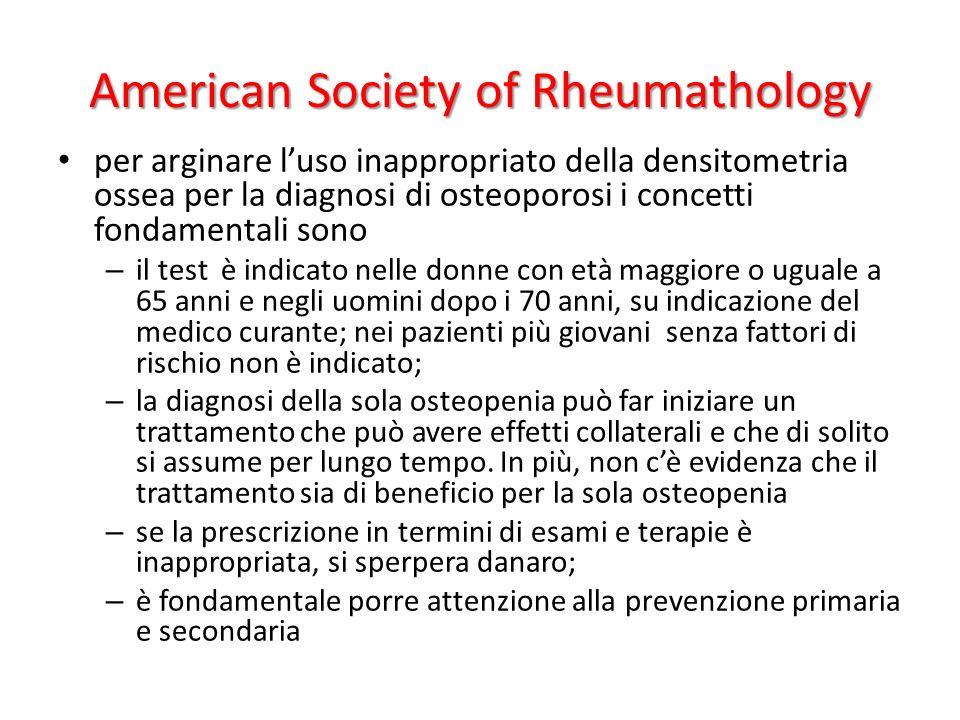 American Society of Rheumathology per arginare luso inappropriato della densitometria ossea per la diagnosi di osteoporosi i concetti fondamentali son
