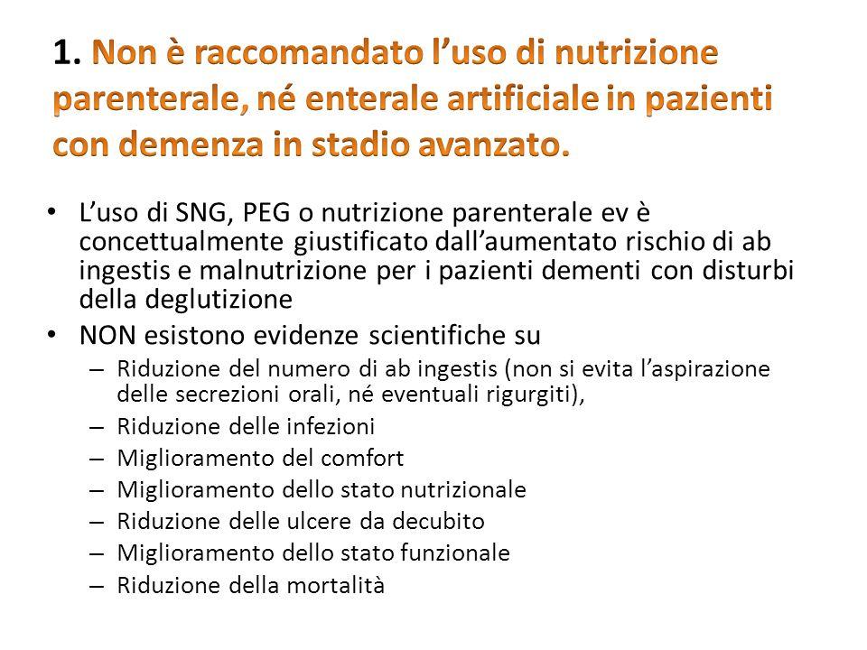 Luso di SNG, PEG o nutrizione parenterale ev è concettualmente giustificato dallaumentato rischio di ab ingestis e malnutrizione per i pazienti dement