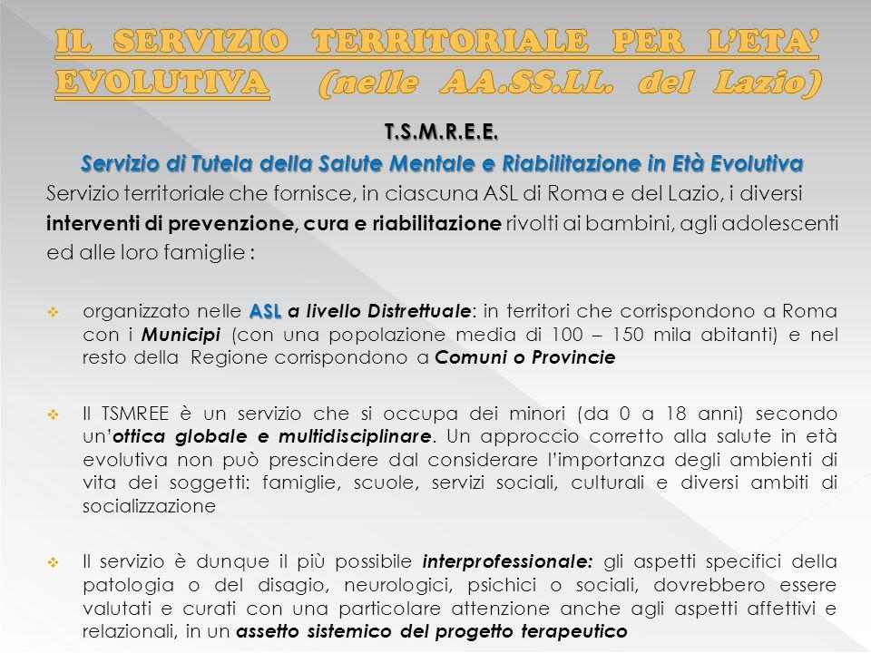 T.S.M.R.E.E. Servizio di Tutela della Salute Mentale e Riabilitazione in Età Evolutiva Servizio territoriale che fornisce, in ciascuna ASL di Roma e d