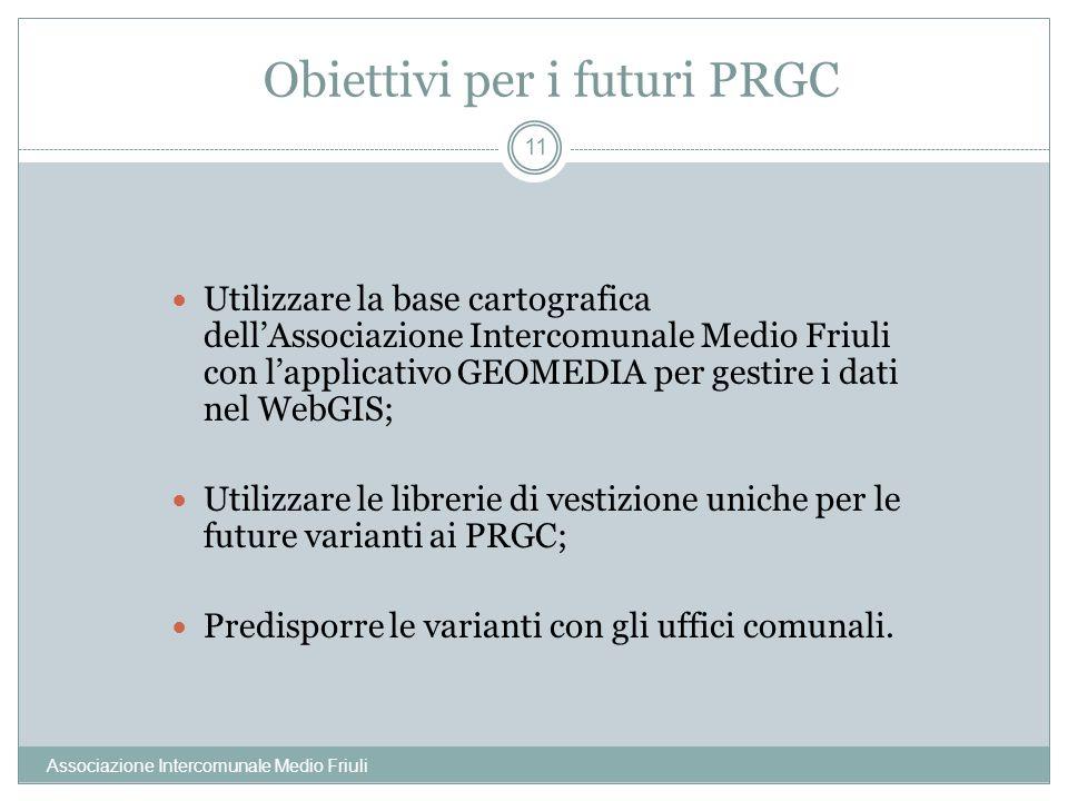 Obiettivi per i futuri PRGC Associazione Intercomunale Medio Friuli 11 Utilizzare la base cartografica dellAssociazione Intercomunale Medio Friuli con