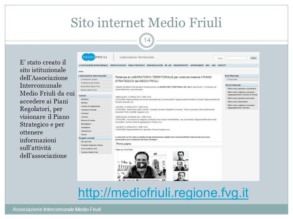 Sito internet Medio Friuli Associazione Intercomunale Medio Friuli 14 E stato creato il sito istituzionale dellAssociazione Intercomunale Medio Friuli