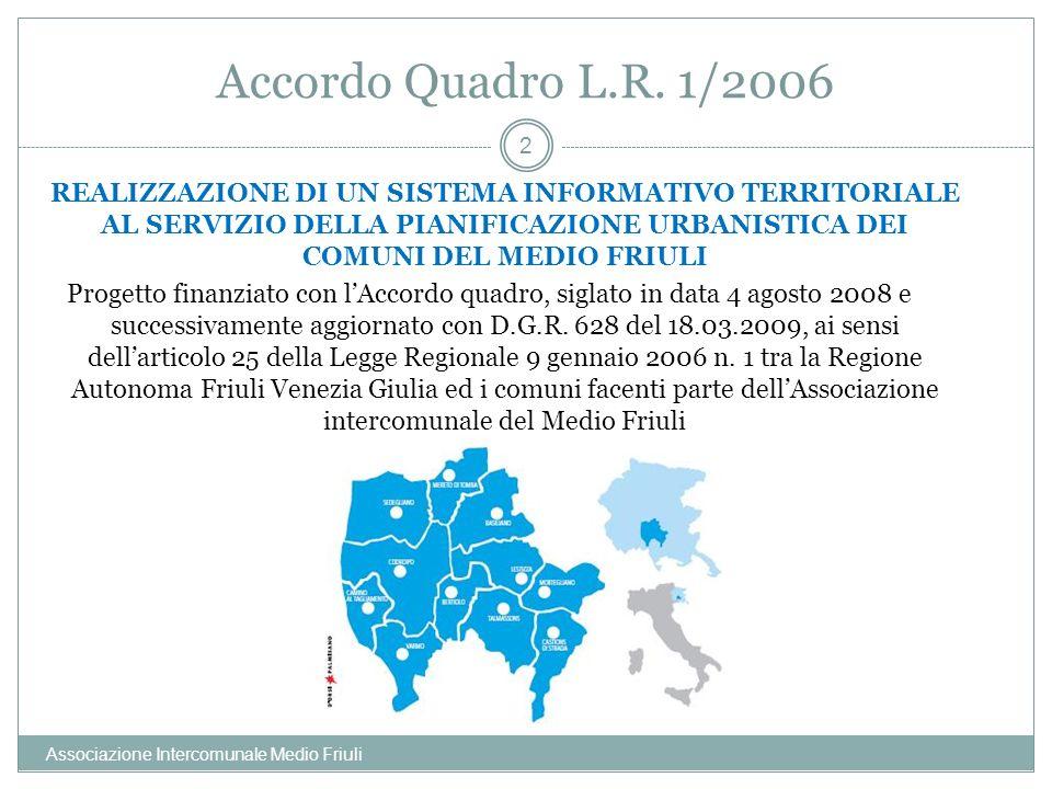 Accordo Quadro L.R. 1/2006 Associazione Intercomunale Medio Friuli 2 REALIZZAZIONE DI UN SISTEMA INFORMATIVO TERRITORIALE AL SERVIZIO DELLA PIANIFICAZ