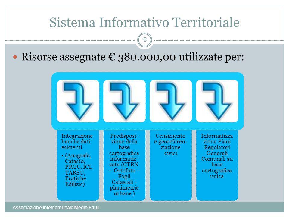 Sistema Informativo Territoriale Associazione Intercomunale Medio Friuli 6 Risorse assegnate 380.000,00 utilizzate per: Integrazione banche dati esistenti (Anagrafe, Catasto, PRGC, ICI, TARSU, Pratiche Edilizie) Predisposi- zione della base cartografica informatiz- zata (CTRN – Ortofoto – Fogli Catastali - planimetrie urbane ) Censimento e georeferen- ziazione civici Informatizza zione Piani Regolatori Generali Comunali su base cartografica unica