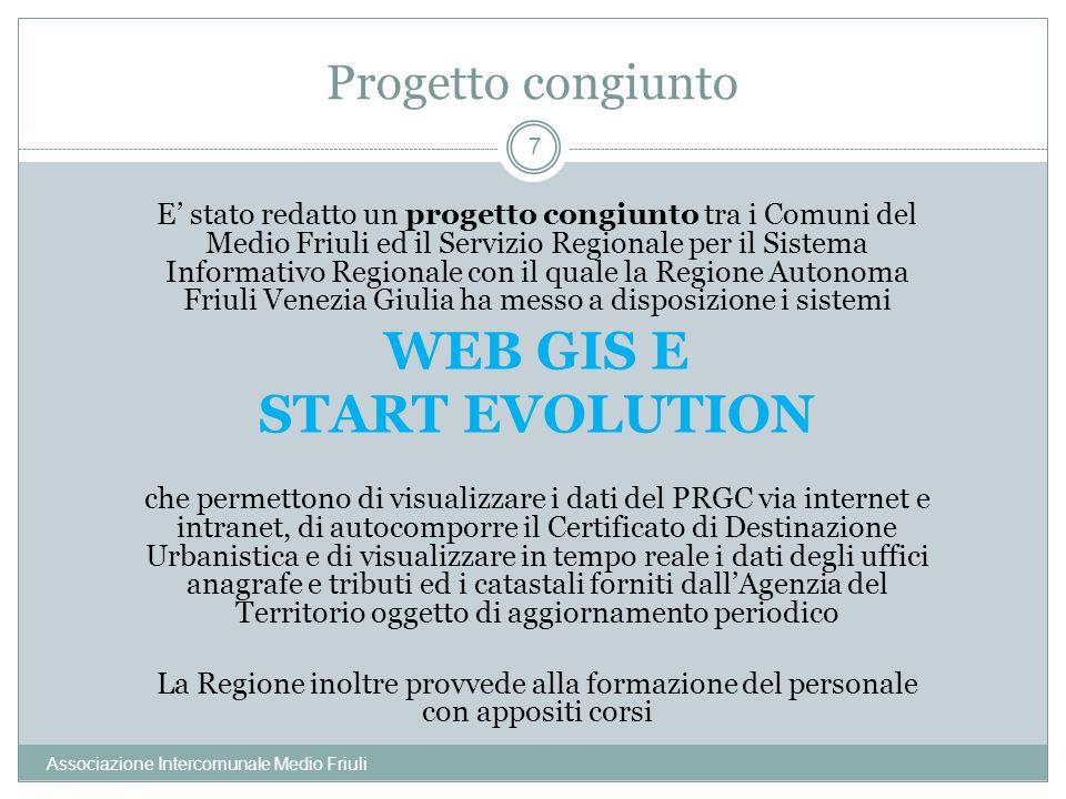 Progetto congiunto Associazione Intercomunale Medio Friuli 7 E stato redatto un progetto congiunto tra i Comuni del Medio Friuli ed il Servizio Region